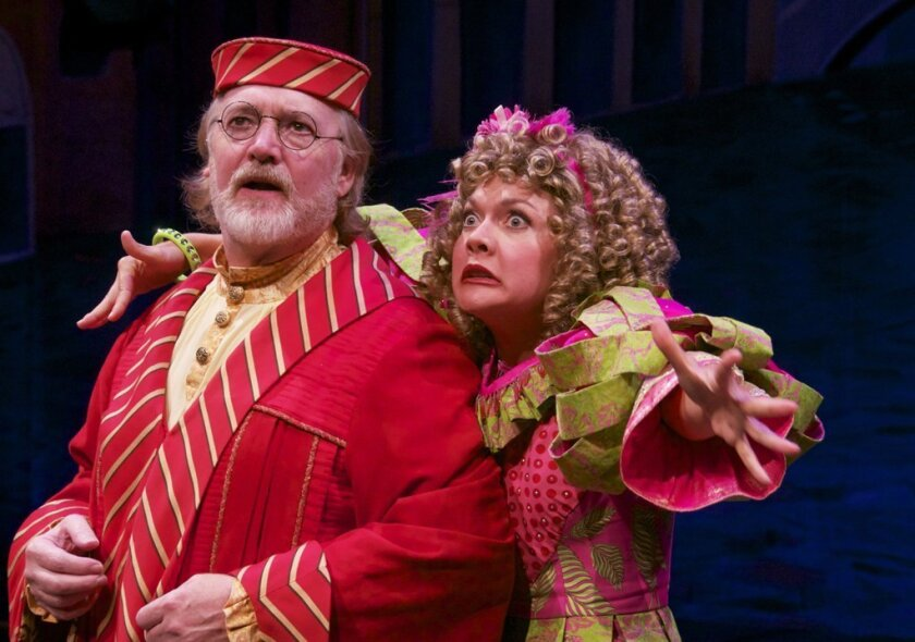 """Robert Smyth and Rebecca Spear in """"The Servant of Two Masters"""" at Lamb's Players Theatre."""
