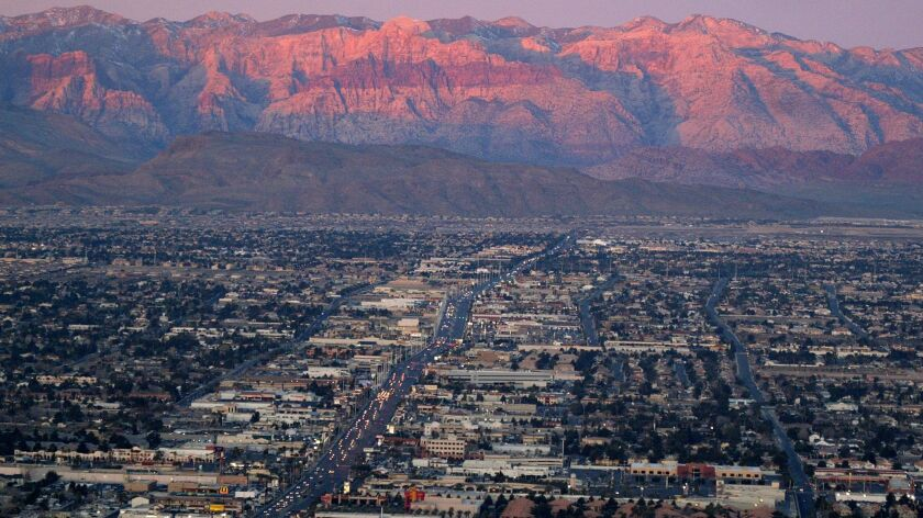 The suburbs of Las Vegas are seen Wednesday, Feb 9, 2005, from atop the Stratosphere tower looking w