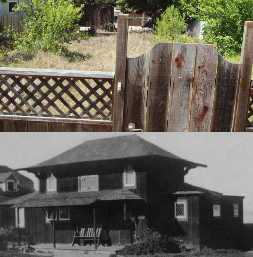 NOW (top): All that's left of the first Irving Gill house in La Jolla, and possibly the first Craftsman home in California, is this vacant lot at 1328 Virginia Way. THEN (bottom): Windemere Cottage is photographed circa 1910, when it was located on Prospect Street.
