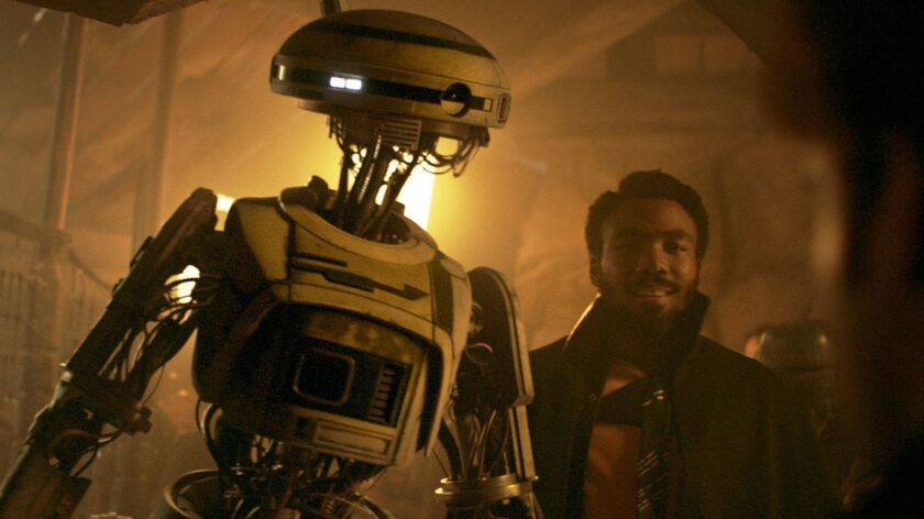Donald Glover is Lando Calrissian and Phoebe Waller-Bridge is L3-37 in SOLO: A STAR WARS STORY movie