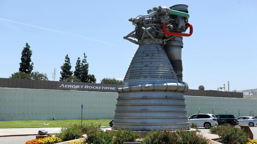 A model of the rocket engine used in the Saturn V rocket sits in front of the entrance to the Aerojet Rocketdyne facility in Canoga Park on May 28, 2015.