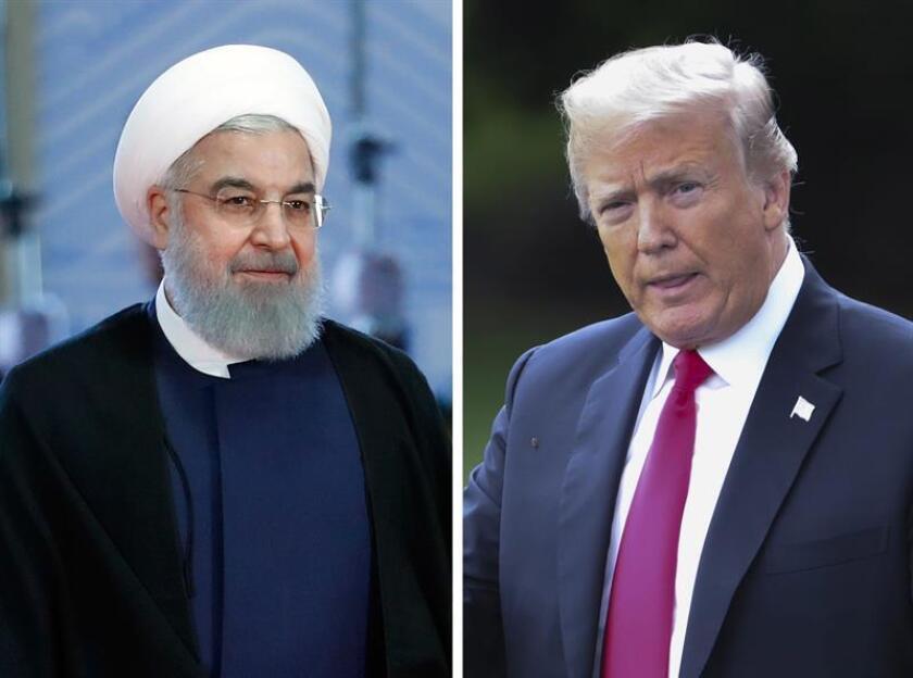 Combo de fotografías que muestran al presidente iraní, Hasán Rohaní (i), a su llegada a la Cumbre de la Organización de Cooperación de Shangai (OCS) el 10 de junio de 2018, y al presidente de los Estados Unidos, Donald J. Trump (d), antes de embarcar en el Marine One en la Casa Blanca en Washington DC (Estados Unidos) el 31 de julio de 2018. EFE