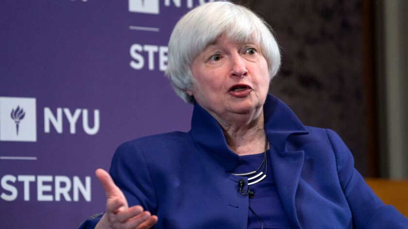 Federal Reserve Chair Janet Yellen participates in a moderated discussion at New York University's S