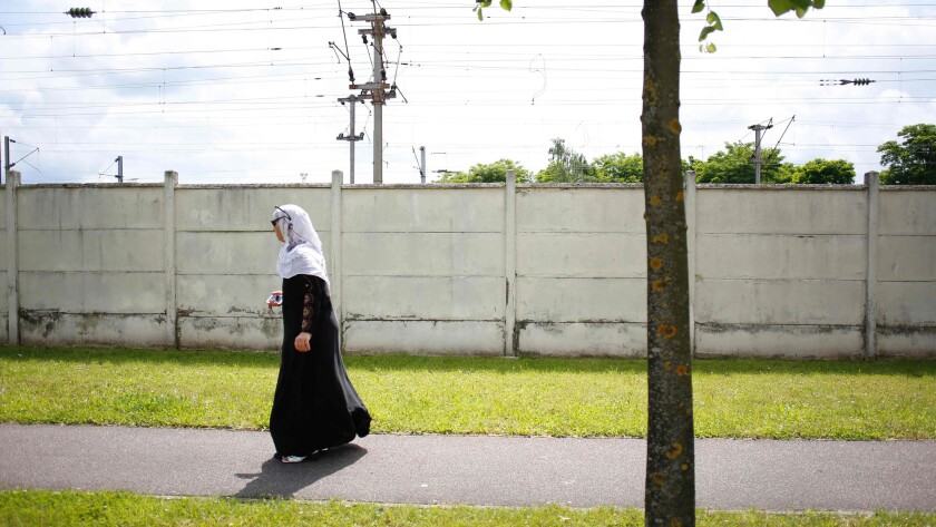 A Muslim woman in Mantes-la-Jolie, France.