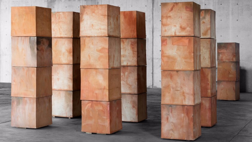 Untitled clay cubes by Bosco Sodi. The artist is having a pop-up exhibition in Los Angeles.