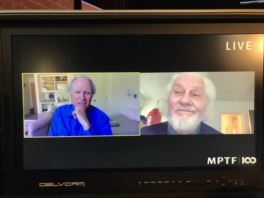 Harry Northup, left, and Brett Hadley talk about acting via Zoom on the Motion Picture and Television Fund Home's Channel 22.