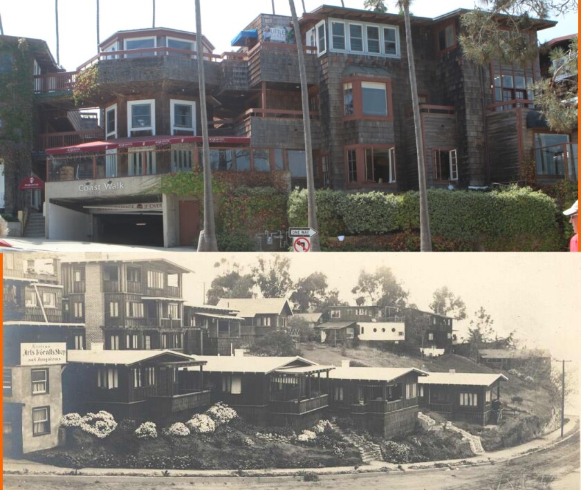 NOW (top): The Coast Walk shopping center sits on the property that once housed the Tyrolean Terrace Colony. THEN (bottom): Built in 1911, the colony was demolished in 1976.