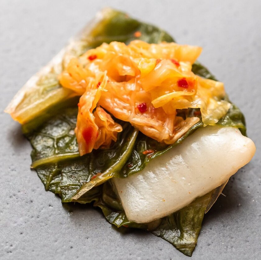 BlueNalu's whole-muscle, cell-based yellowtail prepared in acidified form in a kimchi recipe.