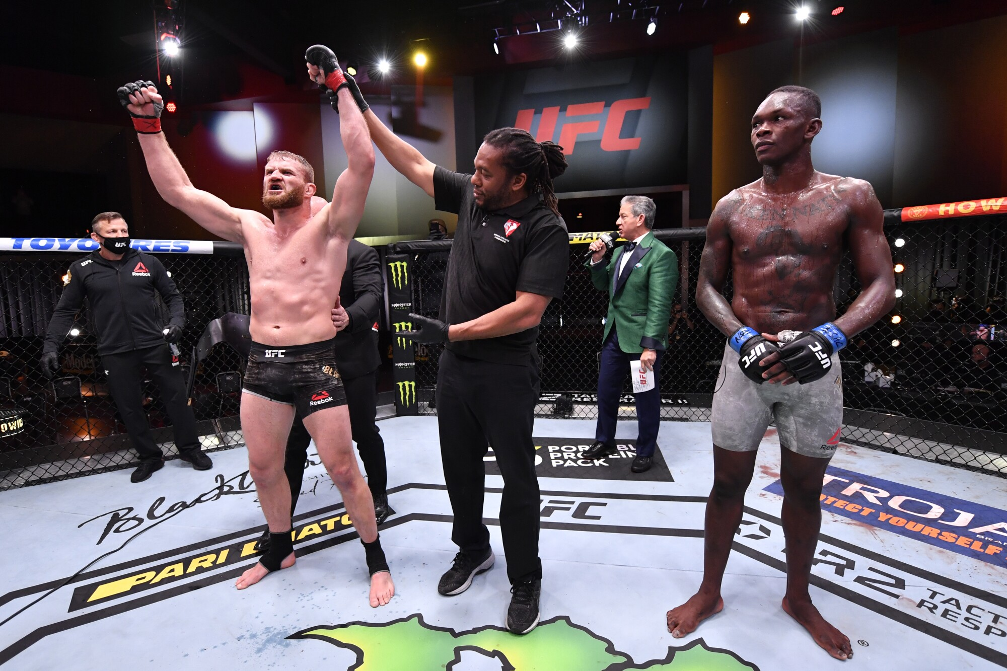 LAS VEGAS, NEVADA - MARCH 06: Jan Blachowicz of Poland celebrates after his victory over Israel Adesanya.