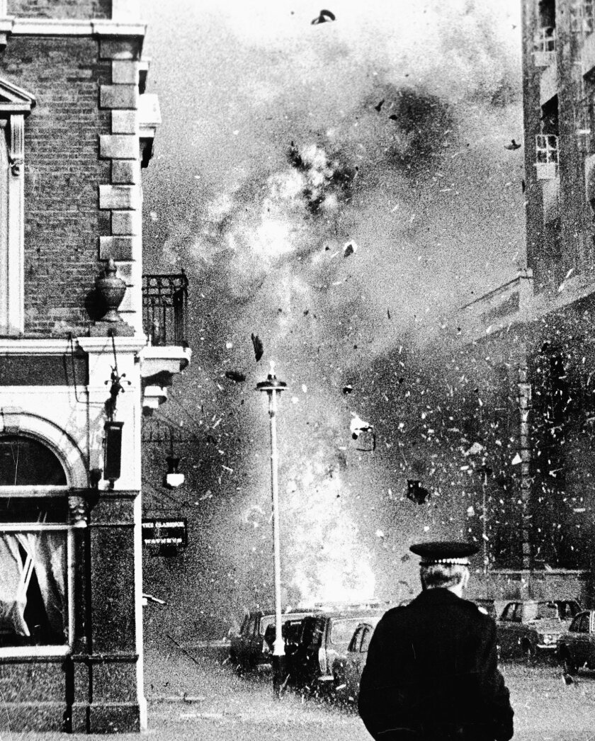 The scene of an IRA (Provisional Irish Republican Army) car bomb explosion at Great Scotland Yard, W