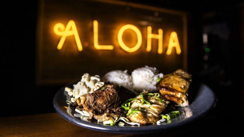 LAHAINA, HAWAII-MARCH 21, 2019: Aloha Mixed Plate, $18, with shoyu chicken, teriyaki beef & fresh fi