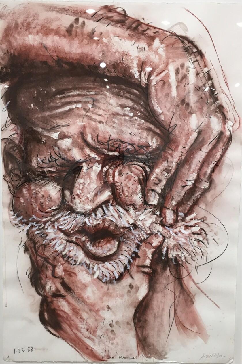 "Robert Arneson, ""Head Wedged,"" 1988; mixed media on paper."