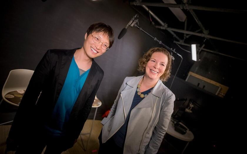 Composer Lei Liang and soprano Susan Narucki in studio, before the world premiere of their chamber opera 'Inheritance' at UCSD Experimental Theater.