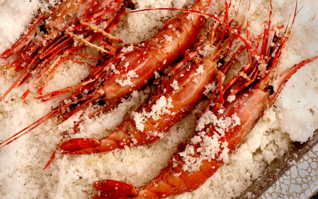 Spot prawns roasted in spiced salt