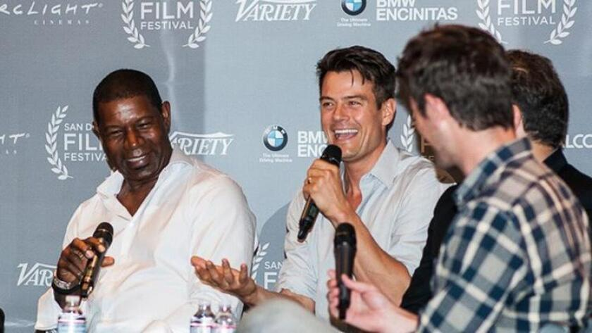 Actors Dennis Haysbert and Josh Duhamel discuss the acting process with film critic Ben Lyons at last year's Actors Panel. The 2015 San Diego Film Festival, Sept. 30-Oct. 4, will feature award-winning independent and studio films, filmmakers, actors, panels and parties. (/ Courtesy San Diego Film Festival)