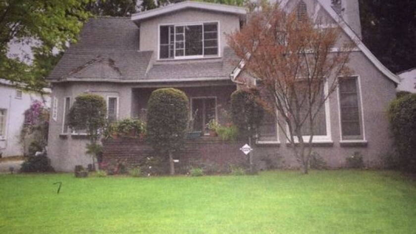 The Toluca Lake house before the lawn was removed.