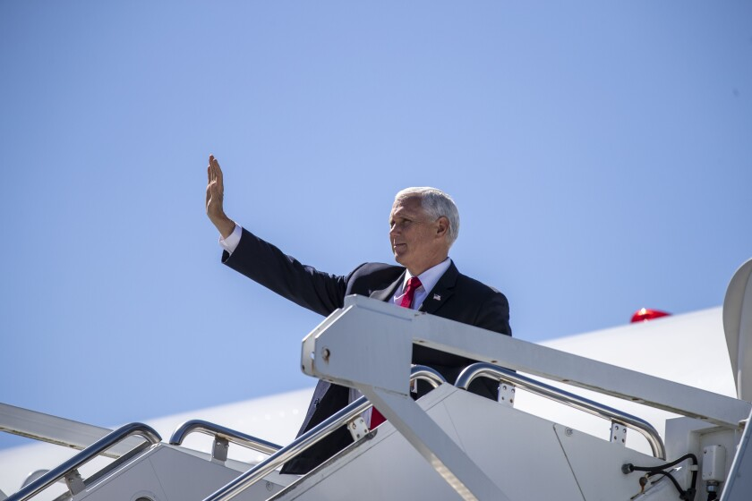 Vice President Mike Pence arrives at Dobbins Air Reserve Base in Marietta, Ga., on Wednesday.