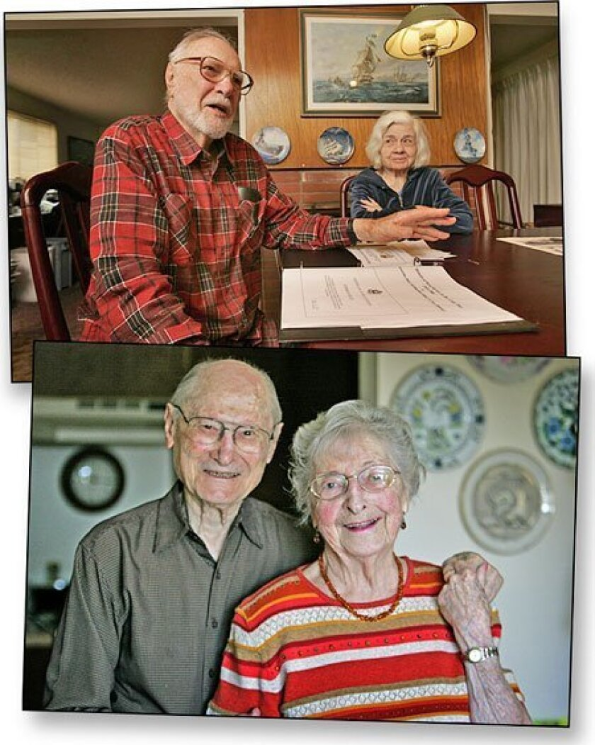 <strong>Top:</strong> Ed and Betty Ries (photo by John Gibbins / U-T); <strong>Bottom:</strong> Sam and Blanche Weiss (Bruce K. Huff / Union-Tribune)