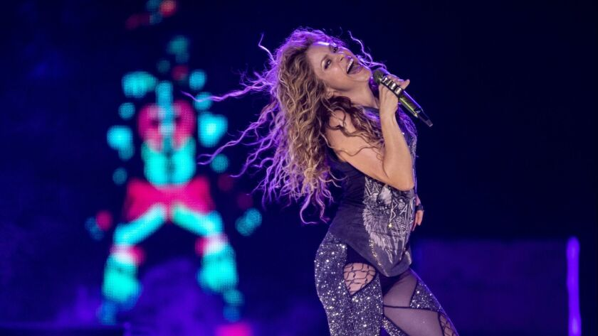 Grammy-winning Colombian singer Shakira performs during the Los Angeles stop of her El Dorado world tour at the Forum.