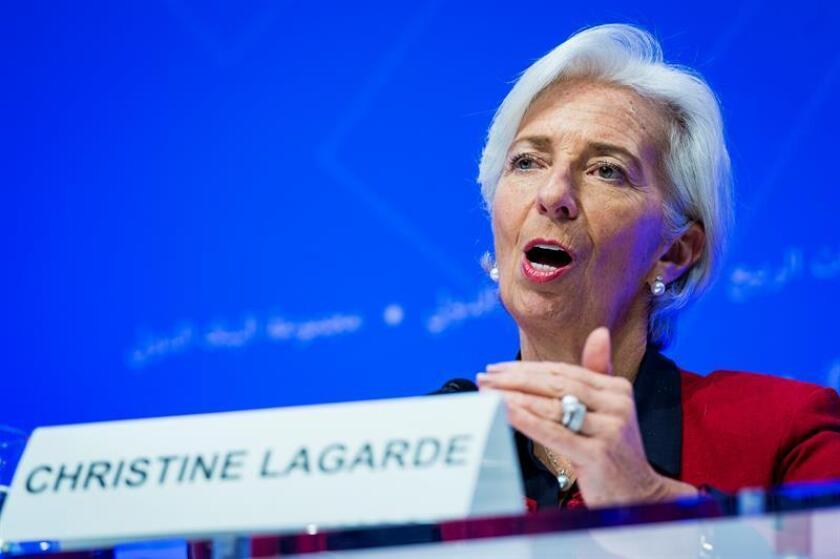 Managing Director of the International Monetary Fund, Christine Lagarde participates in an IMFC Press Conference press conference during the IMF World Bank Spring Meetings at the IMF headquarters in Washington, DC, USA. EFE/File