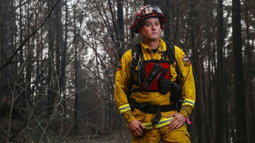 JARBO GAP, CALIF. - NOVEMBER 17: Capt. Matt McKenzie of CalFire Engine 2161 poses for a portait in