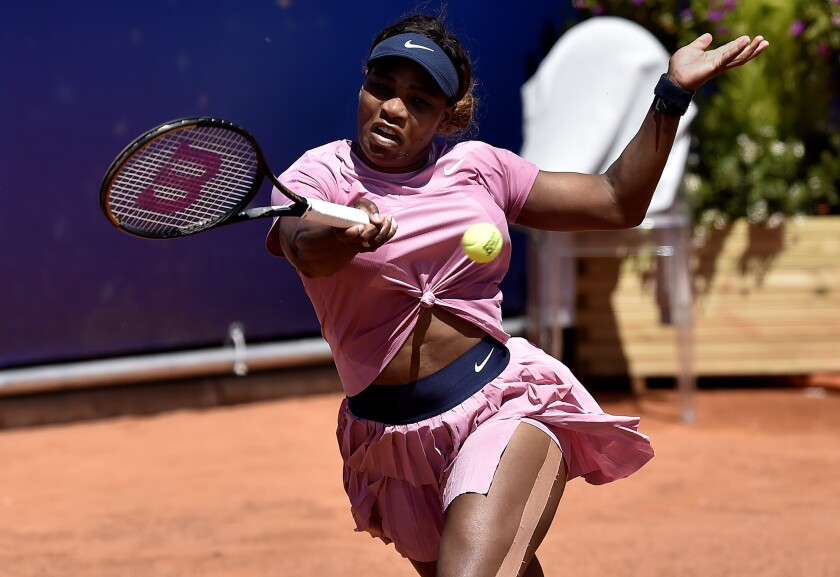 Serena Williams of the United States returns the ball to Italy's Lisa Pigato during their match at the Emilia Romagna Open tennis tournament, in Parma, Monday, May 17, 2021. Serena Williams earned her first victory in more than three months by beating 17-year-old qualifier Lisa Pigato 6-3, 6-2 in the first round of the Emilia-Romagna Open. Williams accepted a wild-card invitation for the Parma tournament after losing her opening match at the Italian Open last week. (AP Photo/Marco Vasini)