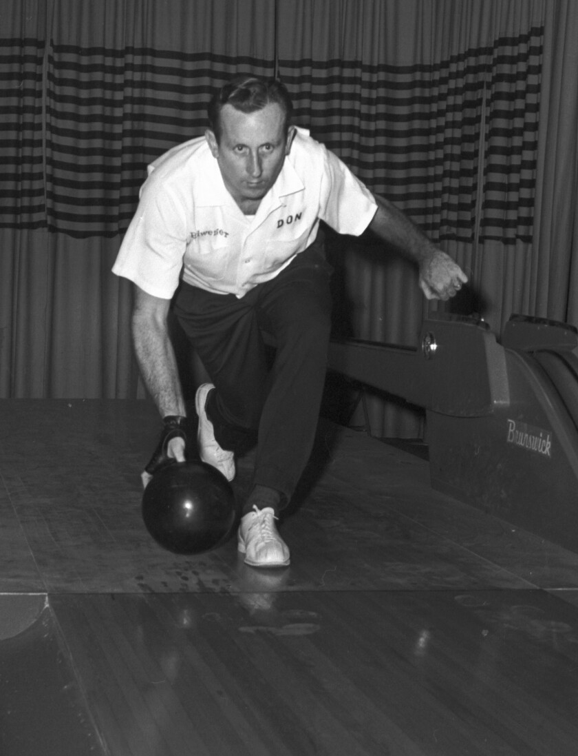 In this Dec. 9, 1959 file photo, bowler Don Carter is shown during a tournament in Chicago.