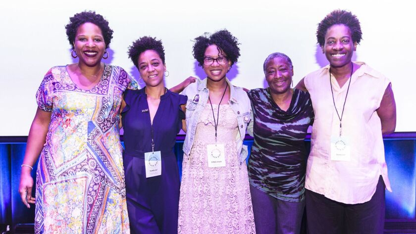 (L-R) Authors Tayari Jones, Rebecca Carroll, Glory Edim(WRBG founder), Marita Golden, and Jacqueline