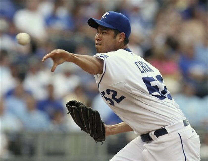 Kansas City Royals starting pitcher Bruce Chen throws in the second inning of a baseball game against the Detroit Tigers, Friday, June 4, 2010, in Kansas City, Mo. (AP Photo/Ed Zurga)