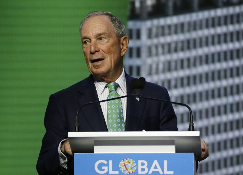 Michael Bloomberg, then the U.N. secretary-general's special envoy for climate action, speaks at a climate summit in San Francisco in September 2018.