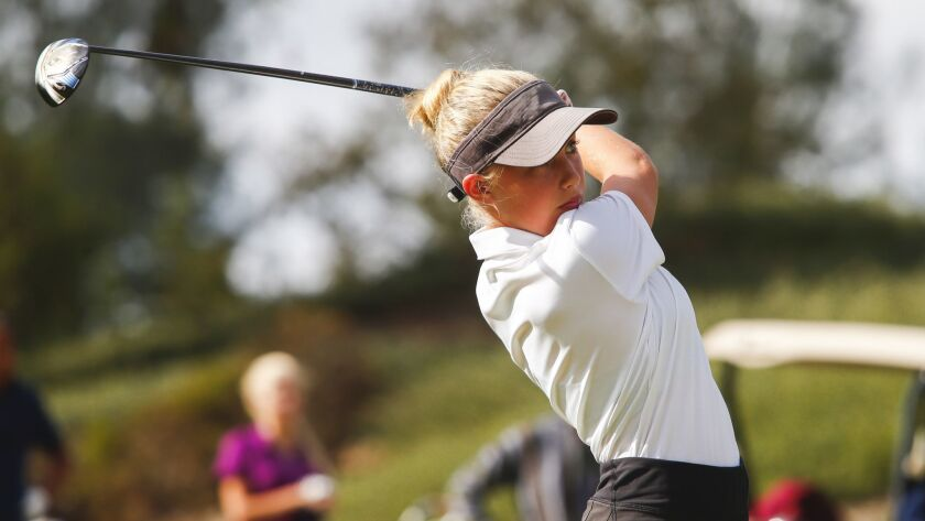 Steele Canyon High School golfer Annika Yturralde plays a practice round with her coaches at Steele Canyon Golf Course on Wednesday, October 10th, 2018.