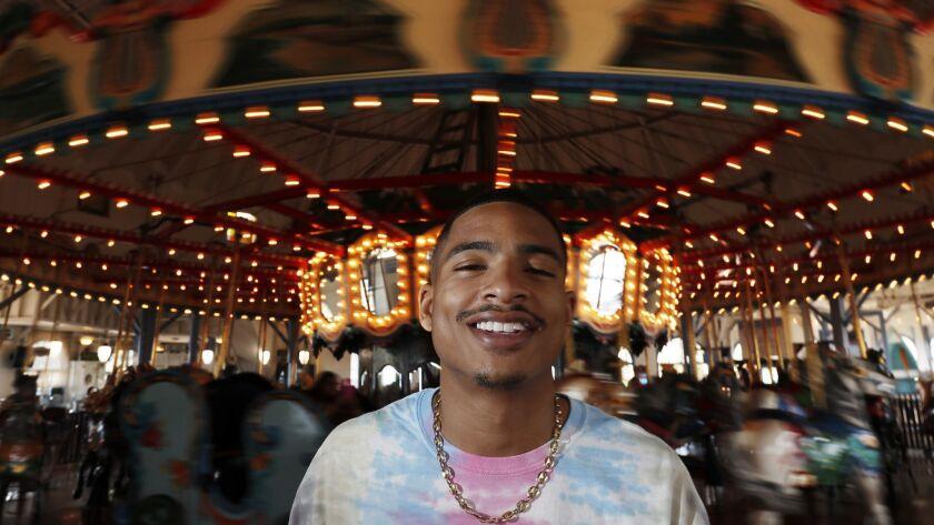 SANTA MONICA, CALIF. - JUNE 7, 2018. Portrait of R&B artist Arin Ray at the Santa Monica Pier on T