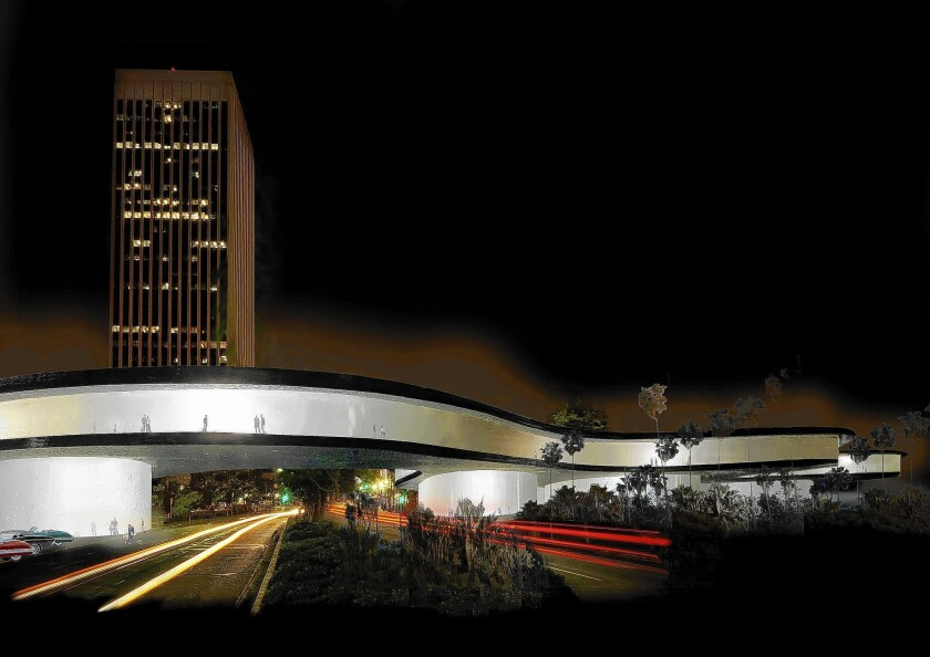 Peter Zumthor's updated design of the LACMA expansion, shown in an artist's rendering with the view facing west on Wilshire Boulevard, features a new wing extending across the roadway.