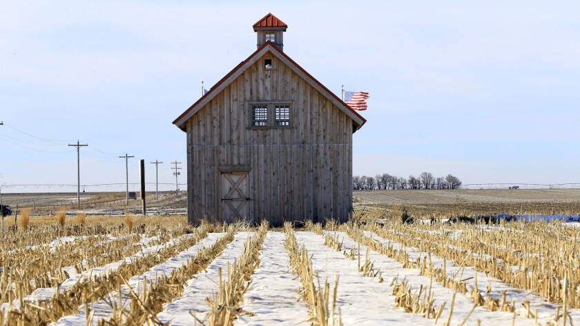 Opponents of the Keystone XL pipeline built this barn in the pipeline's path near Bradshaw, Neb.