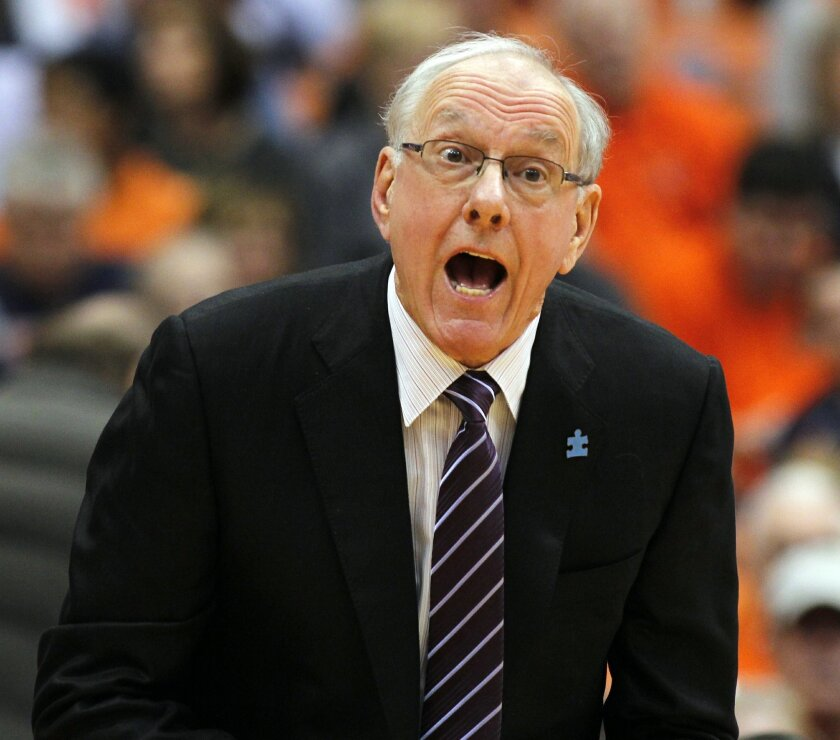 FILE - In this Feb. 20, 2016, file photo, Syracuse head coach Jim Boeheim yells to his players in the first half of an NCAA college basketball game against Pittsburgh,  in Syracuse, N.Y. At this time of year college basketball coaches often sound like political candidates looking for votes as they