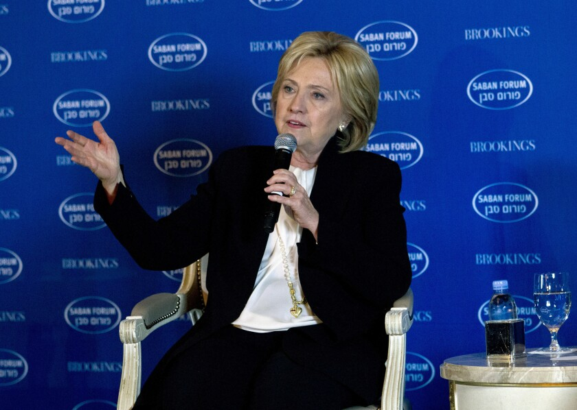 Democratic presidential candidate Hillary Clinton speaks at Saban Forum 2015 in Washington, D.C., on Sunday.
