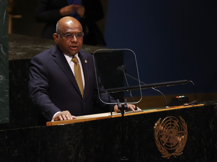 President of the General Assembly Abdulla Shahid speaks at a High-level meeting on the U.N. World Conference Against Racism during the 76th Session of the U.N. General Assembly at United Nations headquarters in New York, on Wednesday, Sept. 22, 2021. (John Angelillo/Pool Photo via AP)