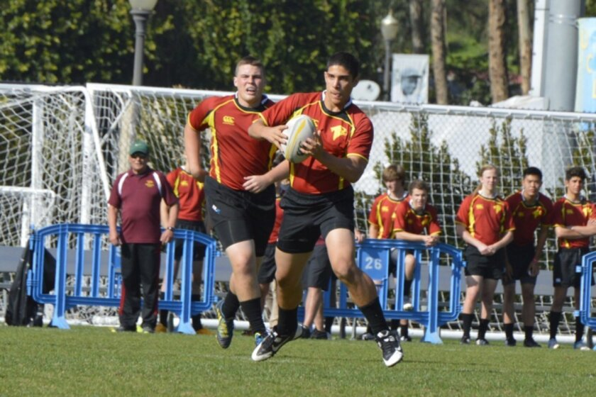 Torrey Pines seniors Cole Maes-Valley (left) and Benny Ruffolo, both of whom were selected for a Southern California All-Star Club this past summer, are among the leaders of what should be a strong High School Varsity rugby team for the 2015-2016 winter season. Denise Cavanagh Photography