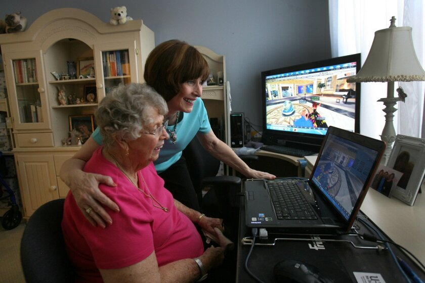 Fran Swenson and her daughter Barbara Richards setup an online virtual reality world called Second Life where they both have virtual characters. photo by Bill Wechter