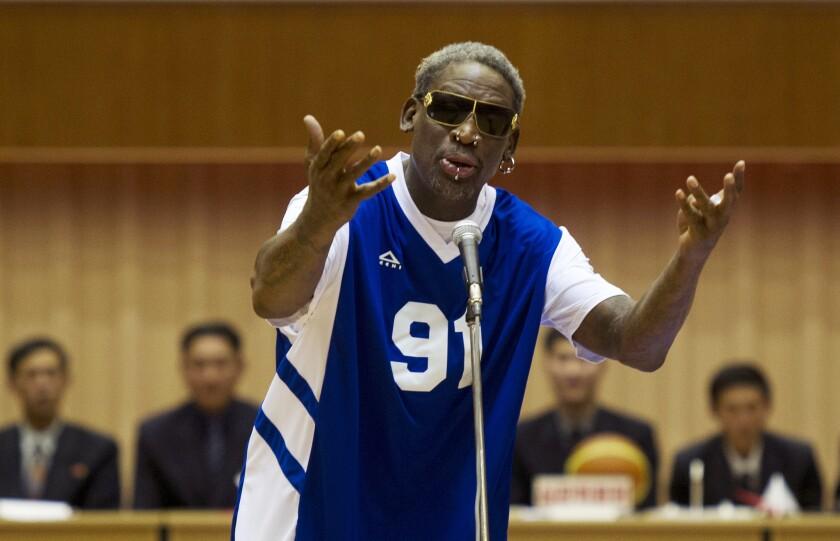 "Former NBA star Dennis Rodman sings ""Happy Birthday"" to North Korean leader Kim Jong-Un in 2014."