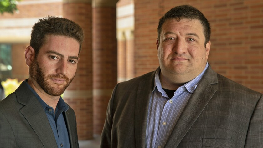 Ken Borkan, left, and Brent Gerson, cannabis conference organizers and MBA students at the UCLA School of Management.