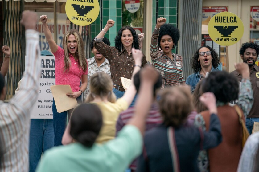"Alicia Vikander as Gloria Steinem, Monica Sanchez as Dolores Huerta, Janelle Monáe as Dorothy Pitman Hughes in ""The Glorias."""
