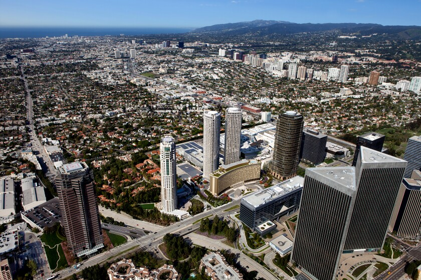 Artist rendering The $2.5-billion revamp of Century City's Century Plaza development will launch its first phase next spring with a 400-room hotel and 63 private residences.