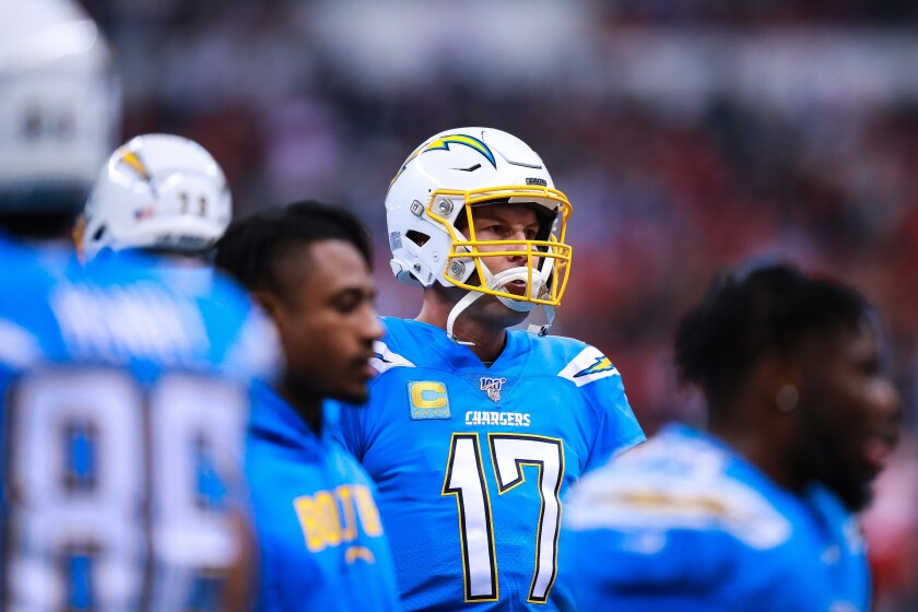 Chargers quarterback Philip Rivers looks on before a game against the Chiefs in Mexico City on Nov. 18.