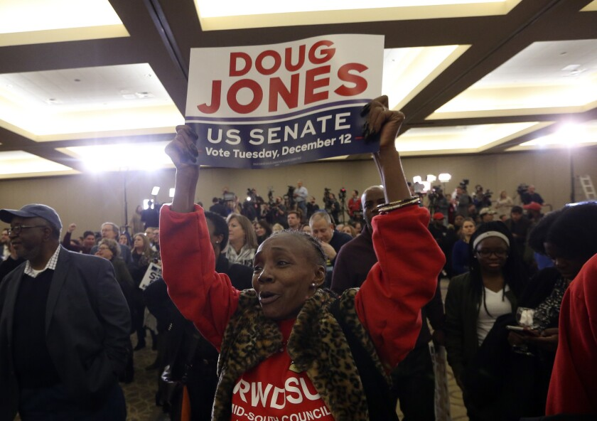 A supporter of Democratic candidate for U.S. Senate Doug Jones what for results during an election-n