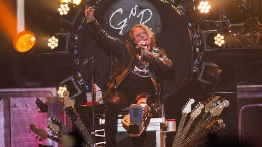 Guns N' Roses' Axl Rose onstage at the Coachella Valley Music and Arts Festival.