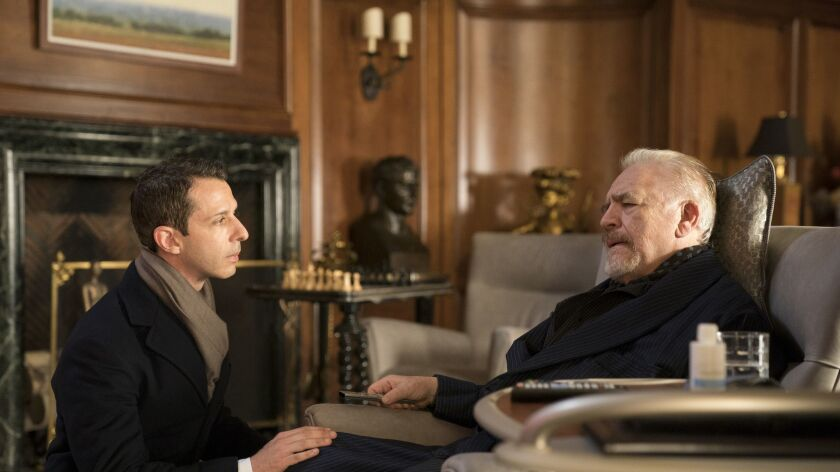 """Jeremy Strong and Brian Cox in a scene from """"Succession."""""""