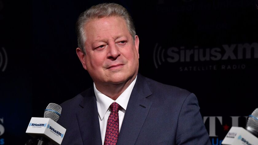 """Former Vice President Al Gore, seen during a radio interview in Washington, has been promoting a new movie on climate change, """"An Inconvenient Sequel: Truth To Power."""""""