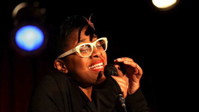 LOS ANGELES, CALIF. - FEB. 17, 2014. Jazz singer Cecile McLorin Salvant performs at the Catalina Bar
