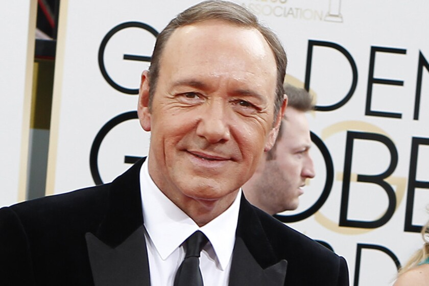 Kevin Spacey arrives for the 71st Golden Globe Awards show at the Beverly Hilton on Sunday.